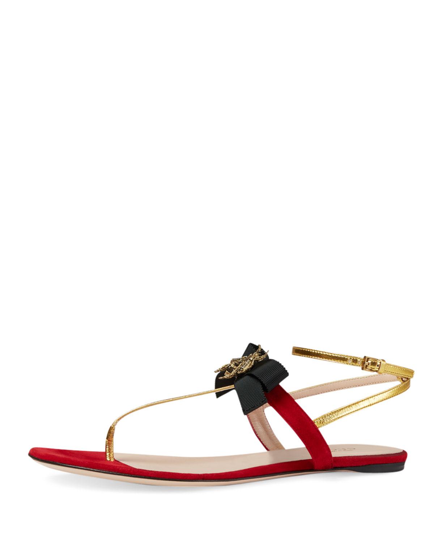 56ee9a8824b Gucci Moody Bow Flat Thong Sandal