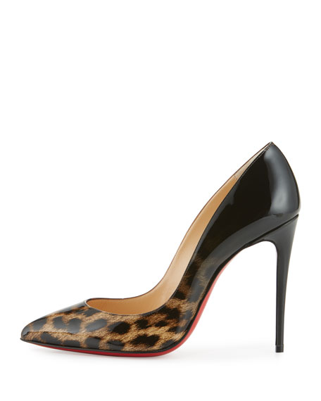 Pigalle Follies Degrade 100mm Red Sole Pump, Leopard/Black