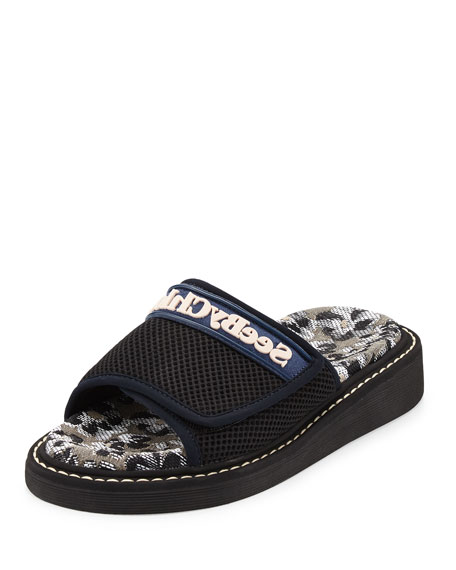 Mesh One-Band Slide Sandal, Black