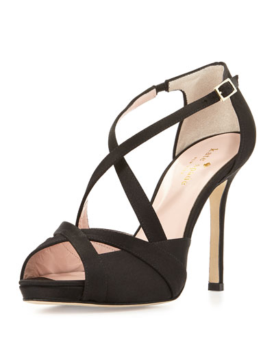 fensano strappy suede sandal, black