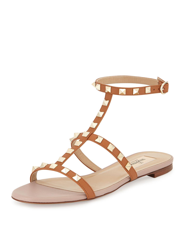b5f804625a9 Valentino Garavani Rockstud Ankle-Strap Flat Sandal