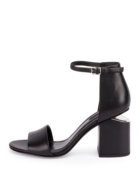 Abby Tilt-Heel Leather Sandal, Black