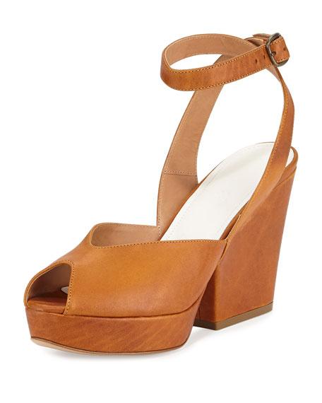 Maison Margiela Waxed Leather Platform Sandal, Brown