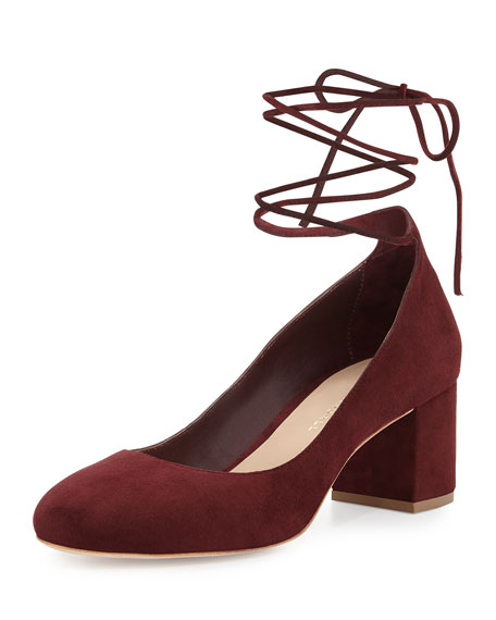 Clara Suede Ankle-Wrap Pump, Bordeaux