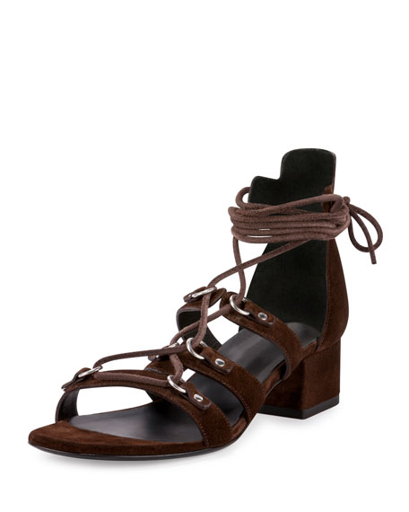 Saint Laurent Babies Suede Gladiator Sandal, Coffee