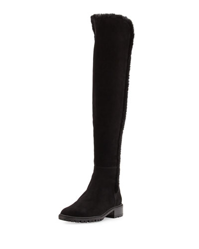 Parka Shearling-Trim Suede Over-The-Knee Boot, Black