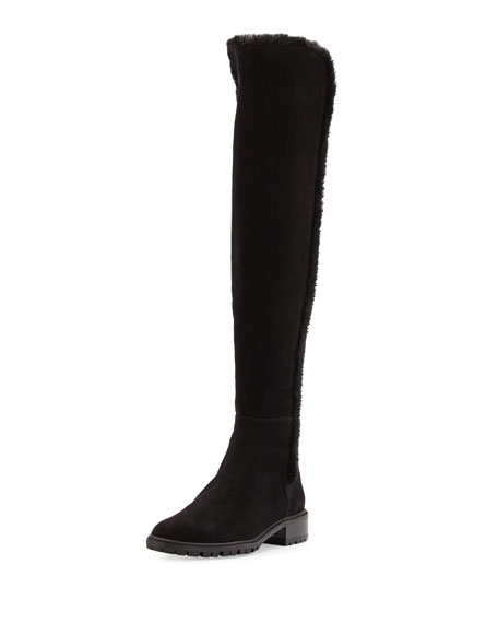 Stuart Weitzman Parka Shearling-Trim Suede Over-The-Knee Boot,