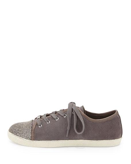 Magie Low-Top Suede Sneaker, Stone