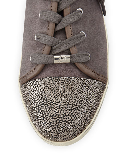 Magie Low-Top Suede Sneaker, Stone