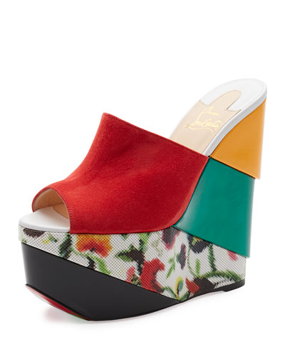 Carnababe Colorblock 150mm Wedge Red Sole Sandal, Version Fraise