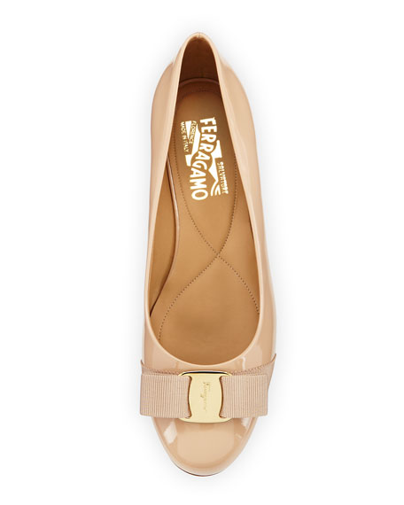 Patent Leather Bow Flat, New Bisque