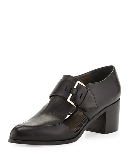 Jason Wu Cutout Leather Buckle Loafer, Black
