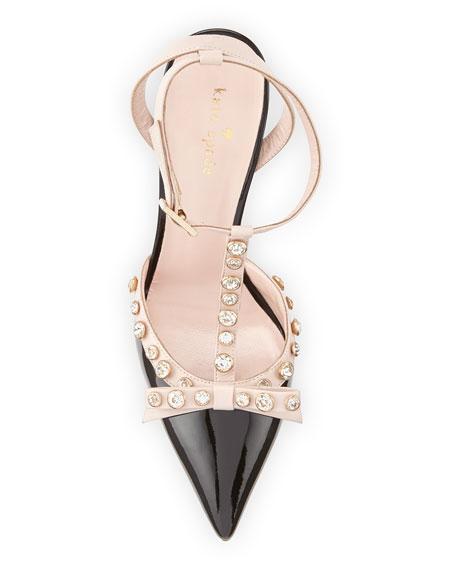 lydia studded patent pump, black/petal pink