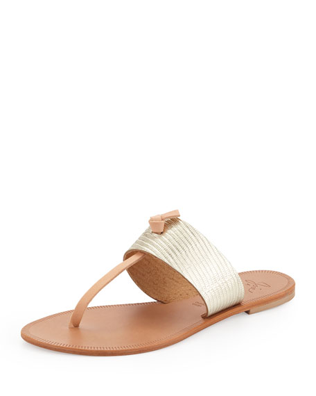 Nice T-Strap Thong Flat Sandal, Platinum