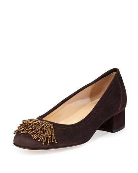 Sesto Meucci Flynn Beaded Fringe Pump, Moro Brown