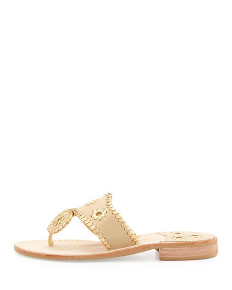 Nantucket Whipstitch Thong Sandals, Camel/Gold