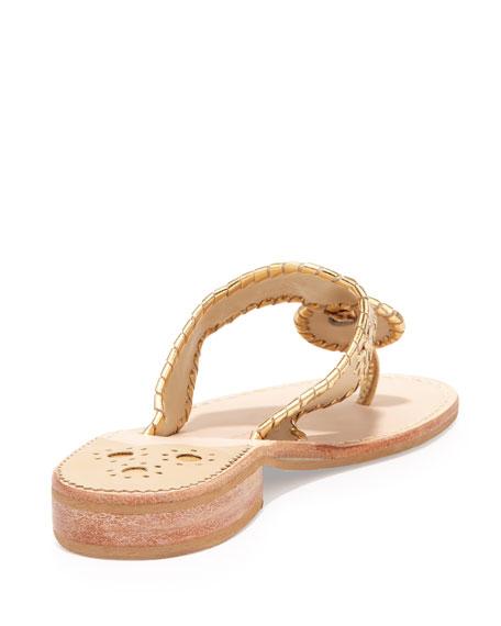 Nantucket Whipstitch Thong Sandal, Camel/Gold