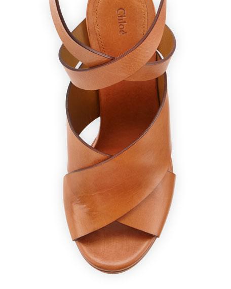 Matte Leather Ankle-Wrap Sandal, Marron Glace