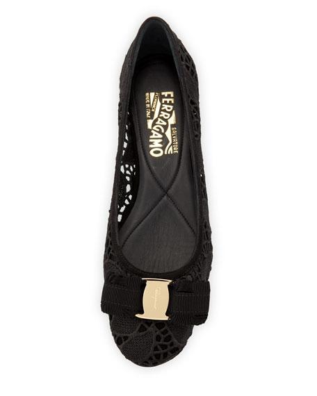 Lace Bow Ballerina Flat, Black (Nero)