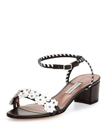 Tabitha Simmons Folie Floral-Appliqué 40mm Sandal, Black/White