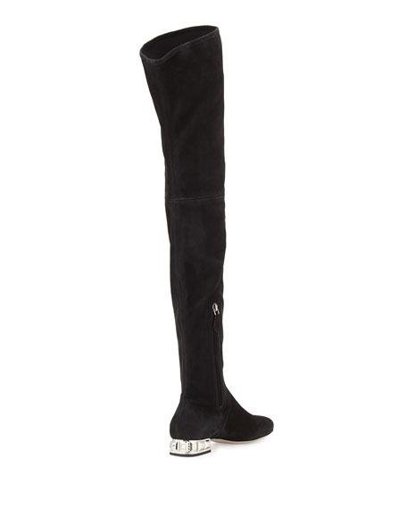 Crystal-Heel Suede Over-The-Knee Boot, Nero
