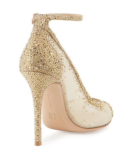 Gemma Crystal Peep-Toe Ankle-Strap Pump