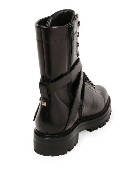 436a9b1efb7 Rockstud Leather Combat Boot, Nero