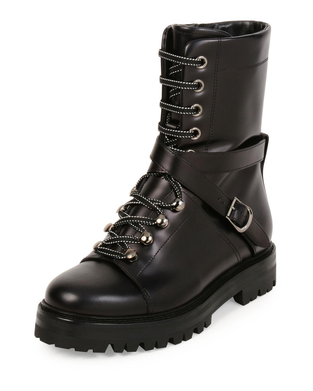 a6b56ca12ea Valentino Garavani Rockstud Leather Combat Boot, Nero | Neiman Marcus