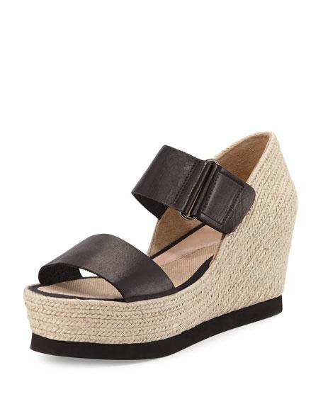 Gretta Leather Espadrille Wedge Sandal, Cuero