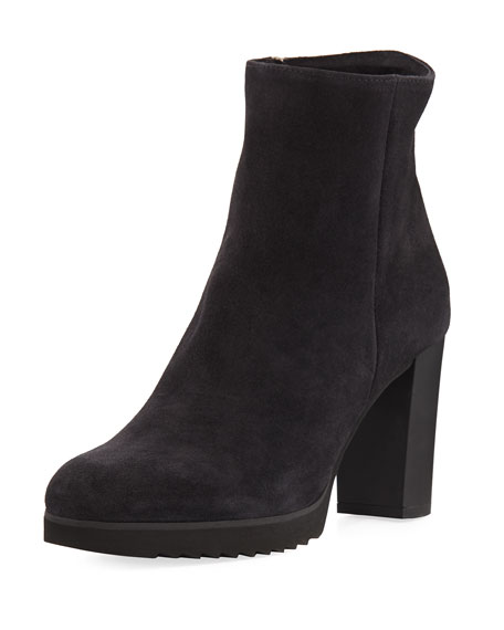 LA CANADIENNE Women'S Myranda Waterproof Suede High Block-Heel Platform Booties in Black Suede