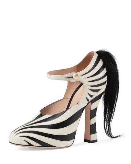Gucci Lesley Ponytail Mary Jane Pump, Black/White