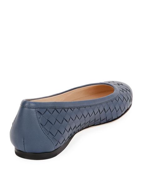 Intrecciato Square-Toe Ballerina Flat