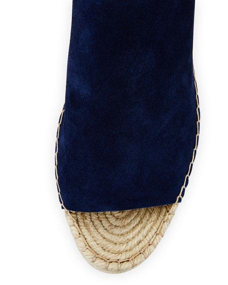 Lyra Suede Ankle-Wrap Espadrille Sandal