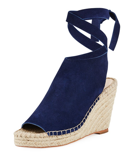 Lyra Suede Ankle-Wrap Espadrille Sandal