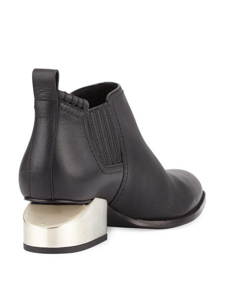 Kori Tilt-Heel Leather Bootie, Black