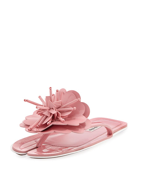 Runway Flower Split-Toe Flat Slide Sandal, Pink