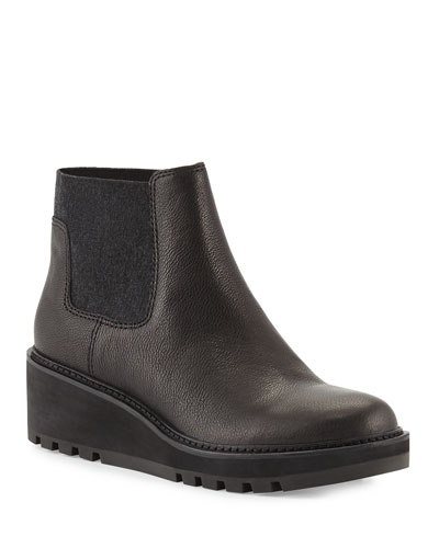 Low-Wedge Chelsea Boots, Black