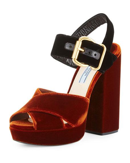 Prada Bicolor Velvet Platform Sandal, Black/Brown