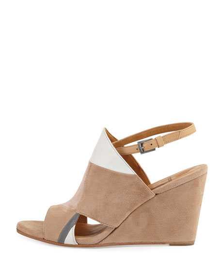 Jordy Colorblock Wedge Sandal, Beige