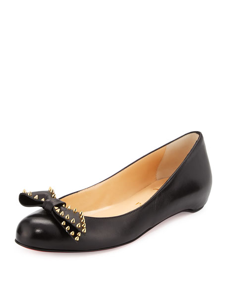 Spike-Bow Leather Red Sole Ballerina Flat, Black/Gold