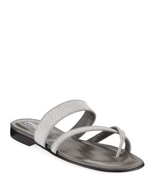 2ddf40be7f1 Manolo Blahnik Susa Rainbow Fabric Flat Sandals