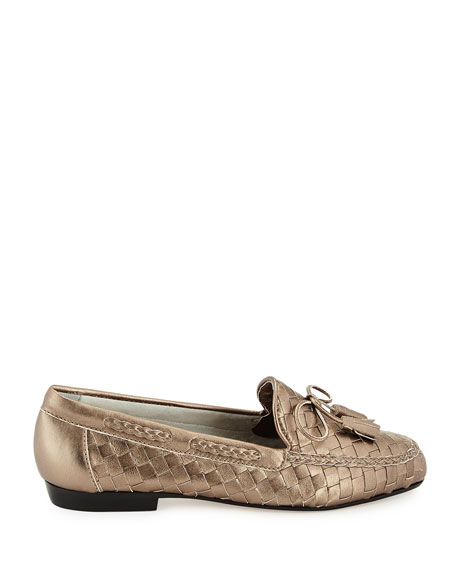 Nicole Woven Leather Loafer, Pewter
