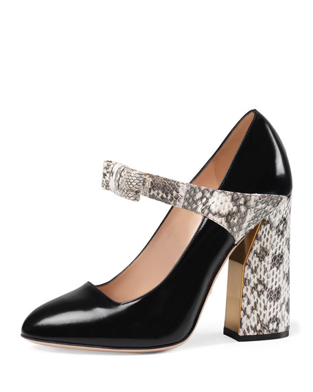Gucci Nimue Snakeskin & Leather Mary Jane Pump,