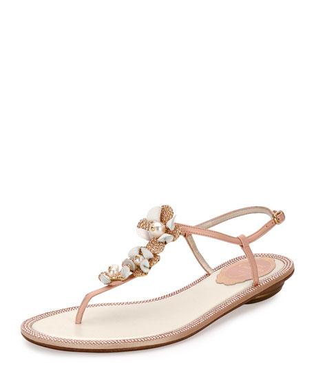 Rene Caovilla Floral-Embellished Crystal Thong Sandal