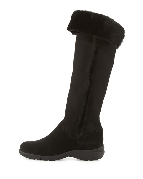 Tacey Suede Over-The-Knee Boot, Black