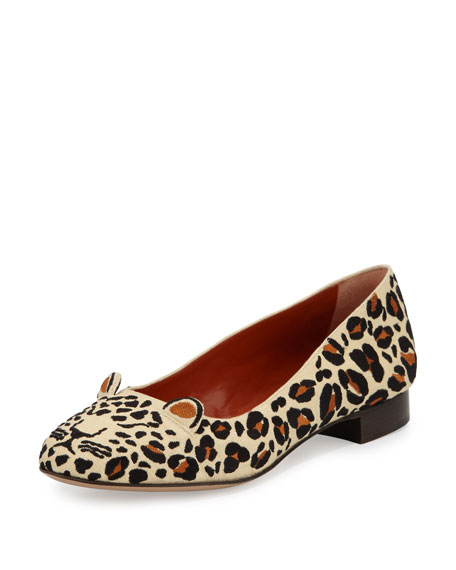Feral Leopard-Embroidered Flat, Sunshine Yellow/Multi