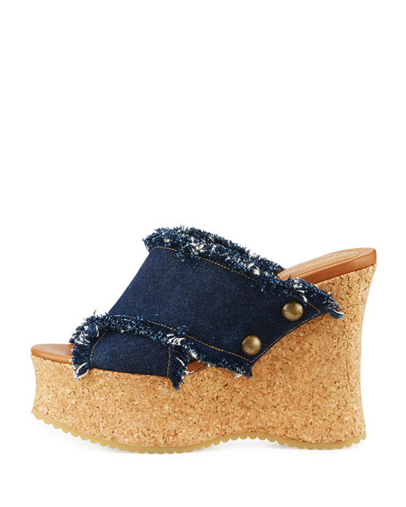 Curnved Frayed Denim Clog Slide