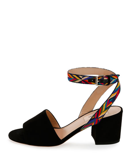 Native Embroidered Suede City Sandal, Nero
