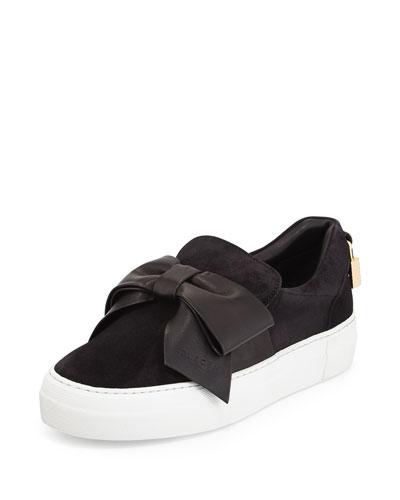 Suede Bow Padlock Skate Sneakers, Black