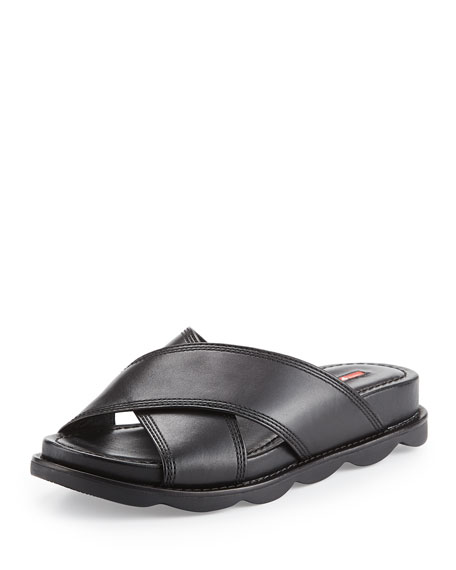 Prada Linea Rossa Crisscross Leather Slide Sandal, Black